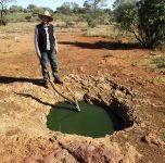 This is an aboriginal rock hole in Spinifex country.  The stick ensures that small creatures do not drown and pollute the water.